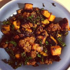 Chorizo, Sweet Potato & Kale Chip Hash #paleo