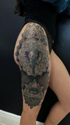 Side Leg Tattoo, Side Hip Tattoos, Tattoos For Women Half Sleeve, Leg Sleeve Tattoo, Back Tattoo Women, Sleeve Tattoos For Women, Tattoo Girls, Mens Leg Tattoo, Side Thigh Tattoos Women
