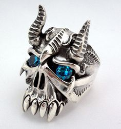 Horn Devil Ring. Safira Azul ... a716834d2aed2