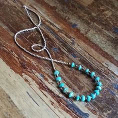 Long Boho Chic Necklace with Turquoise, Pyrite & Silver Beads  by TwoFeathersNY