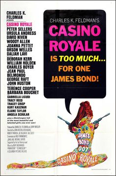James Bond Casino Royale one sheet movie poster. Art by Robert McGinnis. Peter Sellers