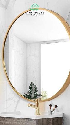 TMGY Gold Round Mirror Wall Mounted,Large Circle Mirrors for Wall Big Metal Frame Wall Mirror,Modern Vanity Mirror for Living Room Bathroom Bedroom Large Circle Mirror, Circle Mirrors, Round Mirrors, Coastal Wall Decor, Modern Wall Decor, Room Wall Decor, Tiny House Luxury, Best Tiny House, Wall Mounted Mirror
