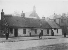 Cottages on Main Street Rutherglen. Kirkwood Street, St Columbkille's church and School Old Photos, Vintage Photos, Royal Charter, Glasgow Scotland, 14th Century, Main Street, Genealogy, Cottages, New Zealand