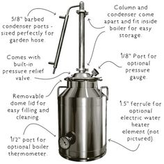 Stainless Steel Distillation Equipment – Clawhammer Supply Diy Generator, Homemade Generator, Steam Generator, Homemade Moonshine, How To Make Moonshine, What Are Essential Oils, Making Essential Oils, Essential Oil Distiller, Pot Still
