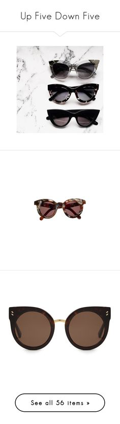 """""""Up Five Down Five"""" by homeless-drifter ❤ liked on Polyvore featuring accessories, eyewear, sunglasses, glasses, lunettes, brown cat eye sunglasses, brown sunglasses, tortoiseshell cat eye sunglasses, tortoise shell sunglasses and tortoiseshell sunglasses"""