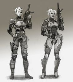 Tagged with guns, rpg, dump, robots, scifi; A Cakeday Dump from my Sci-Fi Folders (Artists listed when known) Character Concept, Character Art, Concept Art, Sci Fi Kunst, 8bit Art, Female Armor, Female Soldier, Futuristic Armour, Sci Fi Armor