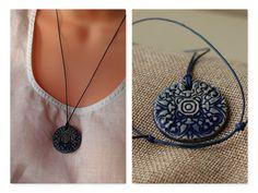 Keramikkette dunkelblau | Etsy