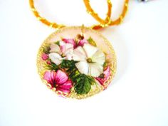 Wooden pendant necklace wood floral pendant by GattyGatty on Etsy, $12.00