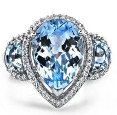 Three Stone Pear Shaped Blue Topaz | La Beℓℓe ℳystère