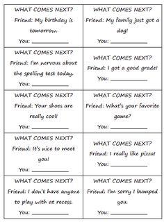 what comes next? (social skills)