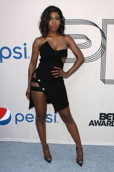 Sevyn Streeter  In Anthony Vaccarello's Strapless Cut Out Crepe Dress