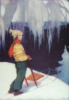 Bilderesultat for rudolf koivu illustrasjon Luge, Vintage Cards, Vintage Postcards, Girl Face Drawing, Winter's Tale, Winter Pictures, Christmas Art, Christmas Photos, Vintage Christmas