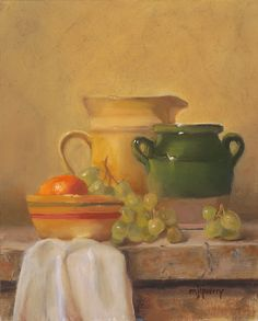 Mary Jo Querry, Pottery on the Ledge, 10 x 8, oil