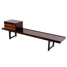Sleek Scandinavian Modern Rosewood Bench | From a unique collection of antique and modern benches at http://www.1stdibs.com/furniture/seating/benches/