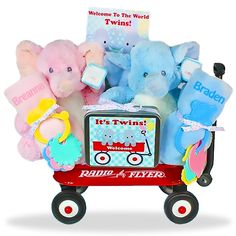 Times Two Gift Wagon Price: $89.00 #GiftBaskets4Baby #Twins #Multiples #boys #girls #gifts #giftbaskets #Baby For more information visit: www.GiftBaskets4Baby.com