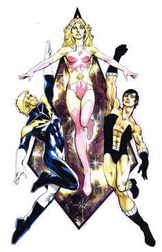 .Legion of Super-Heroes Founding Members: Cosmic Boy, Saturn Girl and Lightning Lad.