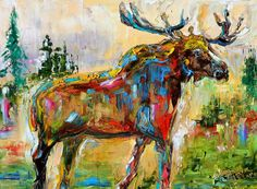 Moose abstract painting original oil on canvas by Karensfineart