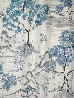Hikaru 519 Antique Blue - Chinoiserie scenic toile fabric for decorator window treatments or upholstery fabric. Durable cotton fabric from Covington fabrics. Drapery Fabric, Fabric Decor, Fabric Design, Curtains, Wallpaper Furniture, Fabric Wallpaper, Cherry Blossom Wallpaper, Chinoiserie Fabric, Covington Fabric
