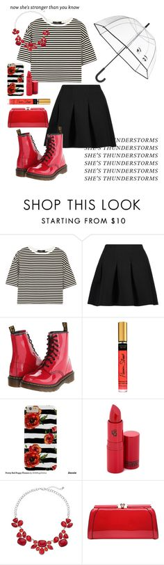 """""""She's Thunderstorms (Red Shoes)"""" by agirlwithcharmingghosts ❤ liked on Polyvore featuring TIBI, T By Alexander Wang, Dr. Martens, Lipstick Queen, MKF Collection and Kate Spade"""