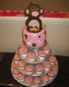 How cute is this monkey themed cake/cupcakes.