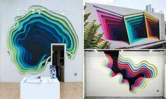"O artista de rua que espalha ""portais"" coloridos pelas cidades"