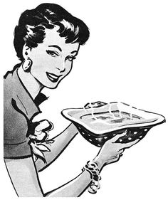 Lovely mid-century homemaker illustration from a 1954 Regal Evaporated Milk ad. #vintage #1950s #cooking #homemaker