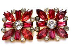 Large Vintage Pink Rhinestone Clip On Square Earrings