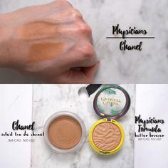 High End vs Dupes : Channel Soleil tan de ($50) vs Physicians formula butter bronzer ($14)