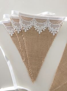 jute fabric crafts Lace and hessian bunting. Beautiful white vintage inspired floral lace on light hessian fabric to create a shabby chic, vintage inspired rustic look bunting! Hessian Crafts, Hessian Bunting, Hessian Fabric, Fabric Bunting, Fabric Crafts, Sewing Crafts, Buntings, Burlap Lace, Shabby Chic Tv Unit