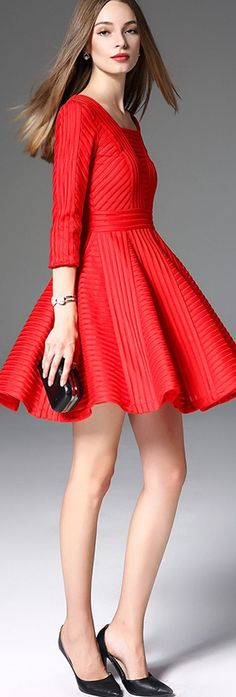 Red Square Neck A-Line Dress