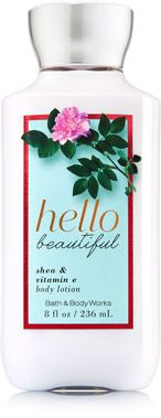 Hello Beautiful Body Lotion - A petal-perfect blend of white gardenia, jasmine petals & magnolia blossom.      Top Notes: Sun-drenched Pomelo, Fuzzy White Nectarine, Italian Mandarin     Mid Notes: Night-blooming Jasmine, White Gardenia, Pink Peonies     Dry Notes: White Amber, Driftwood, Cotton Musk,
