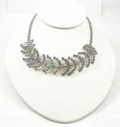 Blue Rhinestone Choker Vintage Fan Necklace by SecondImpulse, $20.00