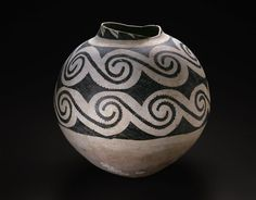 Ancestral Pueblo (Anasazi), Black Mesa Black-on-white  Kayenta area, northeastern Arizona, United States  Storage Jar with Horizontal Bands of Interlocking Scrolls