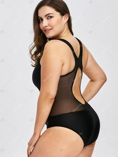 32d6c7046cef5 Plus Size Mesh Insert Racerback One Piece Swimwear - BLACK 2XL One Piece  Swimwear