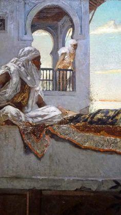Jean-Joseph BENJAMIN - CONSTANT : Le soir sur les terrasses, 1879, détail