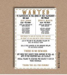 western wedding program country wedding programs funny wedding programs wedding humor western weddings