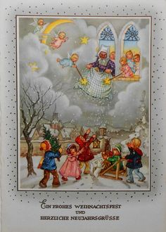 Lieselotte FABIG DISTLING - Frau Holle u. ENGEL auf Wolke, KINDER im Schnee -