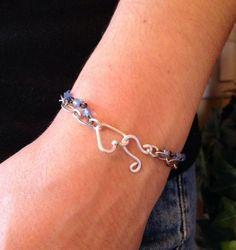Blue  Beaded  Bracelet with Handmade Heart by Forgetmenotkeepsake, $15.00