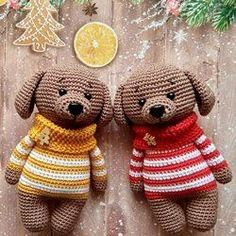Собачки амигуруми в свитерах