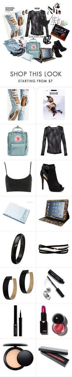 """Back to school"" by marionmeyer ❤ liked on Polyvore featuring Wolford, Fjällräven, Nasty Gal, Apt. 9, Marvel, Kenneth Jay Lane, Zimmermann, Bobbi Brown Cosmetics, Giorgio Armani and MAC Cosmetics"