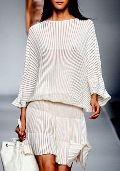 White pleated long sleeve drop waist dress - Blumarine Spring 2013