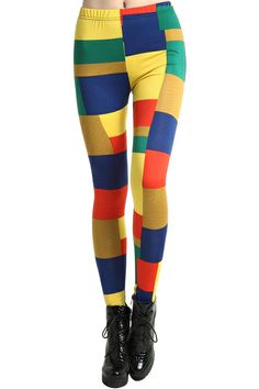 Candy-colored Colorful Plaid Leggings. Description Leggings, featuring elastic wiast, candy-colored colorful plaid print throughout, stretchy length. Fabric Cotton and Polyester. Washing Cool hand wash. #Romwe