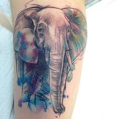 """#elephant#watercolor#graphic#geometric#color#tattoo#quebec"" Would love this but with an owl!"