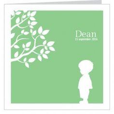 #Geboortekaartje voor een jongen met #silhouet van een klein jongentje onder een #boom en een groene achtergrond. Maak het jouw eigen kaartje door het aan te passen met eigen tekst en bijpassende afbeeldingen uit onze beeldenmap op www.babyboefjes.nl. Direct het kaartje bewerken: http://www.babyboefjes.nl/geboortekaartje-01-1-0435.html