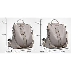 British Style Waterproof Double Zipper Multi-function Handbag Large School Girl's PU Backpack
