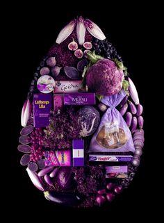 Alimentation triée par couleur, série réalisé par la styliste culinaire Lundgren Linda Publicité pour la marque de supermarché scandinave Hemköp.