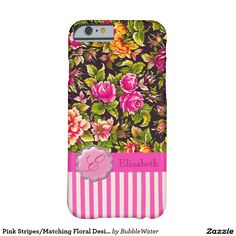 Pink Stripes/Matching Floral Design iPhone 6 Case