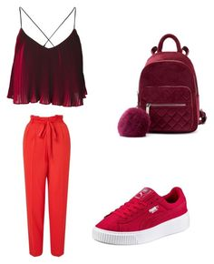 A fashion look from August 2017 featuring pleated shirt, red trousers and platform sneakers. Browse and shop related looks. Miss Selfridge, Shoe Bag, Polyvore, Stuff To Buy, Shopping, Collection, Shoes, Design, Women