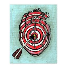 Items similar to Bullseye Target Art Print. Heart and Arrow Art. Heart Painting Reproduction Bedroom Art on Etsy Dorm Room Art, Bedroom Art, 300 Drawing Prompts, Illusion Photography, Arrow Art, Muse Art, Heart Painting, Anatomical Heart, Heart Images