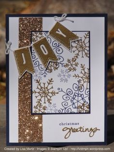 Stamp Sets:  Endless Wishes, A Banner Christmas Ink:  Night of Navy, Versamark Paper:  Night of Navy, Whisper White, Champagne Glimmer paper Accessories:  Gold embossing powder, Heat tool, dimensionals, white baker's twine